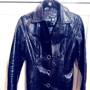 Arden B Animal Print Genuine Leather Trench Coat